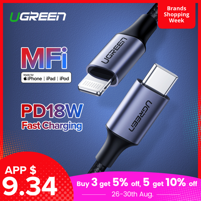 Fast Charger Ugreen MFi USB C Lightning Cable for iPhone X XS Max XR 18W PD