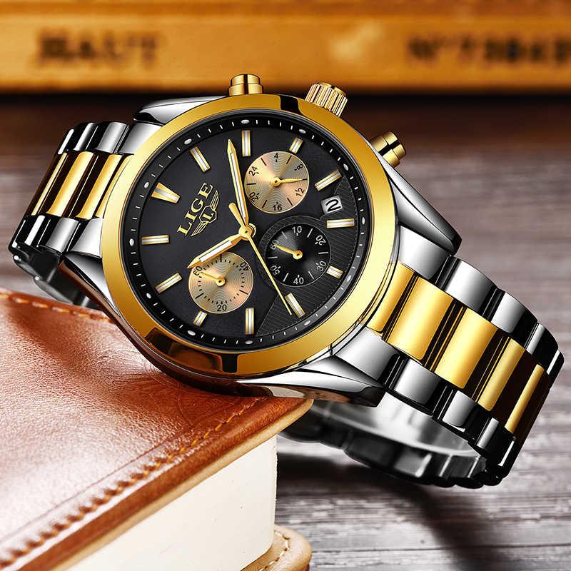 Reloj deportivo Montre Homme para hombre, marca de lujo LIGE, reloj deportivo para hombre, reloj de cuarzo completo y resistente al agua, relojes para hombre