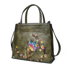 2020 new shoulder messenger retro leather embossed women bag large capacity hand-painted first layer cowhide female handbag цена 2017