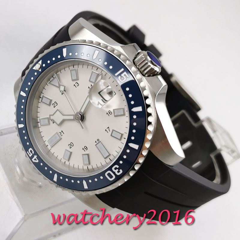 40mm Bliger white dial Steel Case sapphire Glass ceramic bezel MIYOTA 8215 Movement Automatic Mechanical Men's Watch