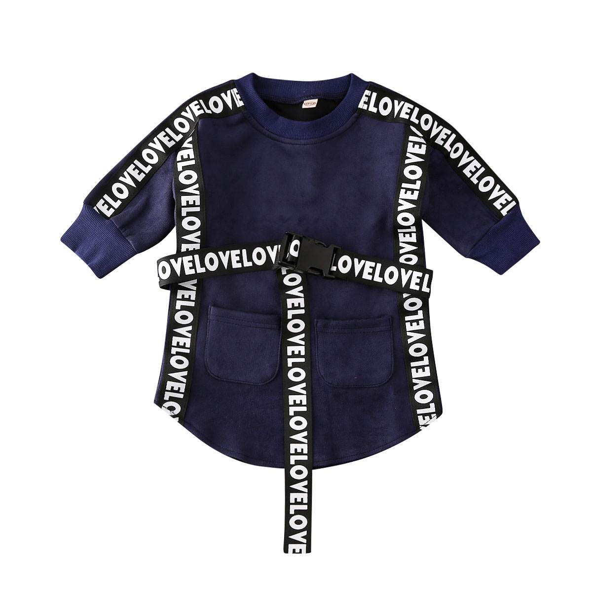 2020 Kids Baby Girl Clothes  Long Sleeve Sweatshirt Straight Dress With Belt Autumn Infant Toddler Casual Outfits 1-5T 2