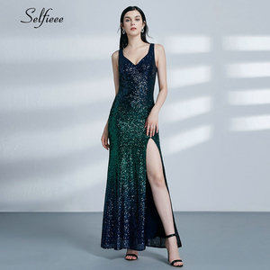 Image 4 - Sexy Sparkle Maxi Dress Mermaid Sequined V Neck Sleeveless Women Dress Elegant Evening Party Dress Vestidos De Fiesta De Noche