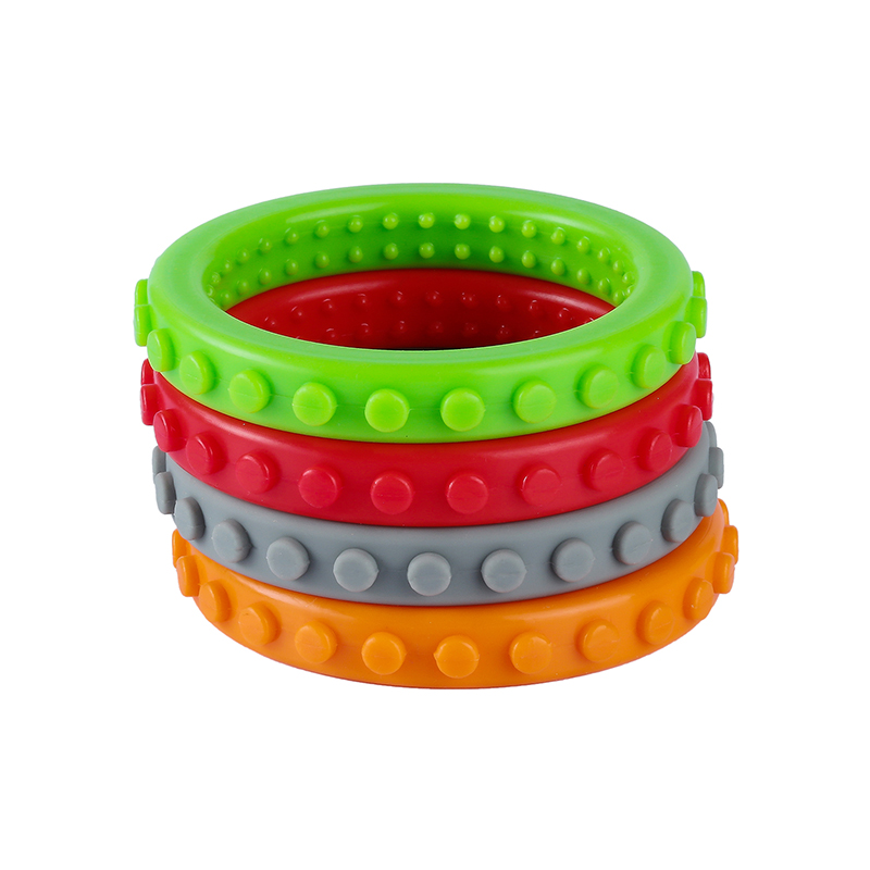 4PCS Silicone Teething Bracelet Textured Baby Silicone Teether Chewable Autism Sensory Fidget Bracelet Kids Special Needs Toy