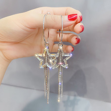 2019 new fashion delicate crystal Star temperament long metal tassels exaggerated Women Drop earrings creative Jewelry