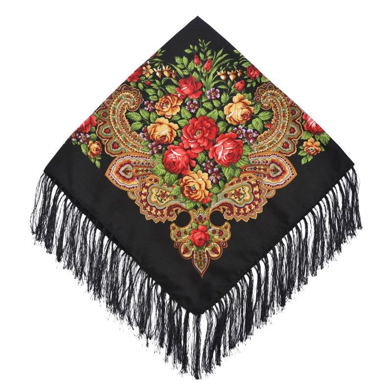 90*90cm Russian National Style Square Scarf Shawl Female Cotton Fringed Print Scarf Lady Head Wraps Foulard Femme Hijab Scarfs