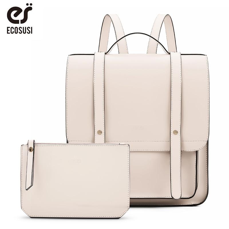 ECOSUSI 12.4 Inch Laptop Bag Messenger Backpacks Women Bag Vintage PU Leather Bag With Small Bag Purse Woman 2019 Travel Bag NEW