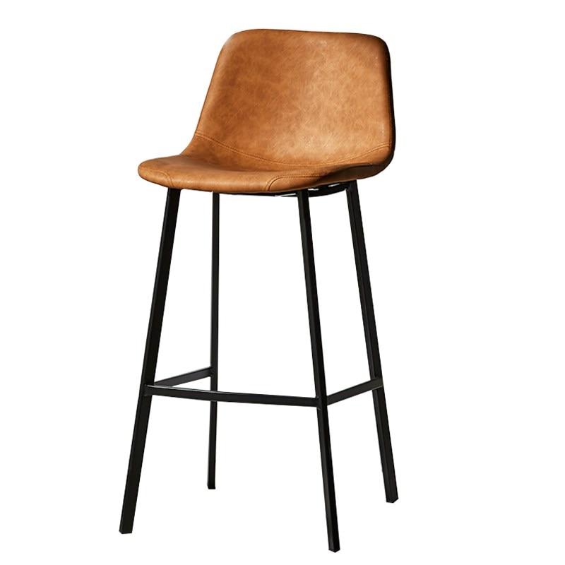 Bar Chair Northern Europe Net Red Soft Bag Simple Modern Bar Milk Tea Coffee Shop Light Luxury Household Iron Stool