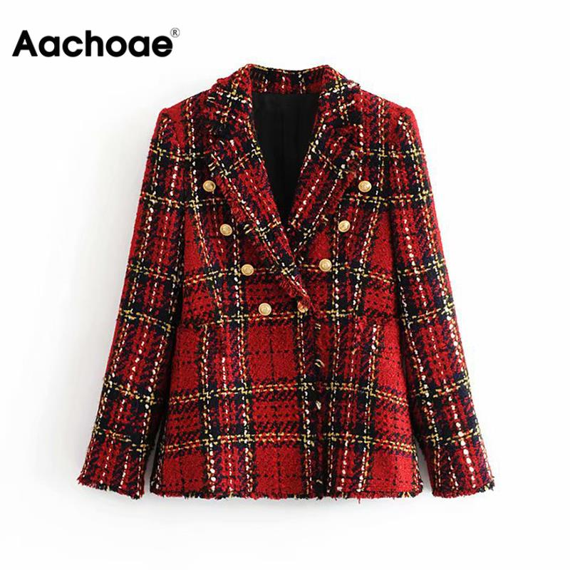 Double Breasted Women Plaid Blazers Fashion Tassel Notched Collar Office Suits Long Sleeve Lady Jacket Autumn Blazer Feminino