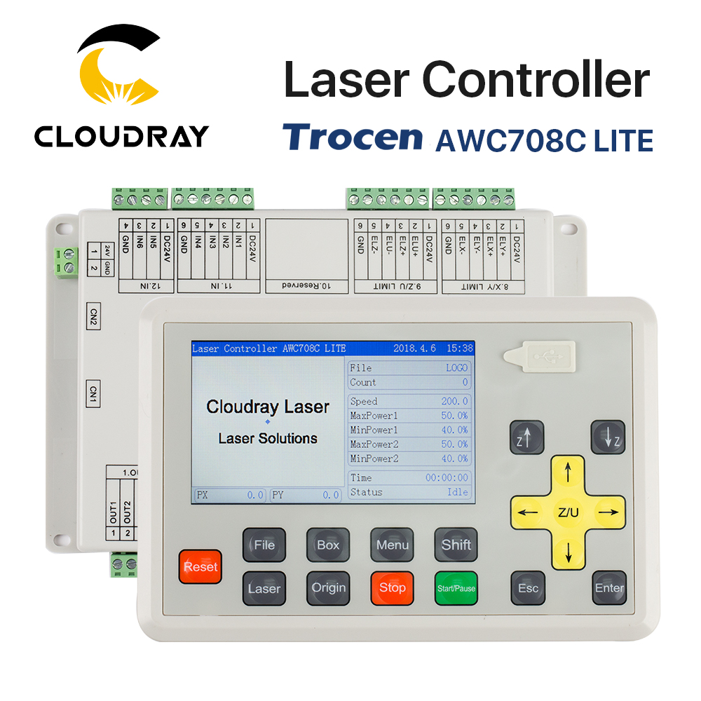 Cloudray Trocen Anywells AWC708C LITE Co2 Laser Controller-systeem voor lasergravure en snijmachine Vervang AWC608C