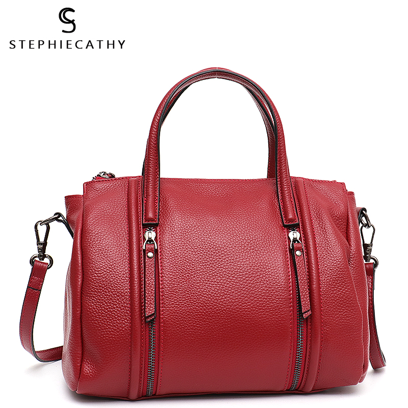 SC Real Leather Female Handbag Fashion Leather Women Top-handle Bucket Bag Luxury Zip Pockets Shoulder Bags Ladies Crossbody Sac