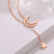Ailodo Fashion Moon Star Pendant Necklace For Women Never Fade Titanium Steel Necklace Collar Party Wedding Jewelry Gift LD402 trendy never fade titanium steel snake chain choker necklace for women