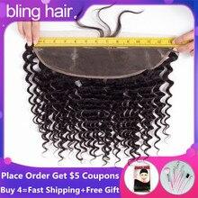 """Bling hair Deep Wave frontale 100% Remy brasiliano capelli umani chiusura frontale in pizzo 13*4 con capelli per bambini colore nero naturale 8 """" 22"""""""