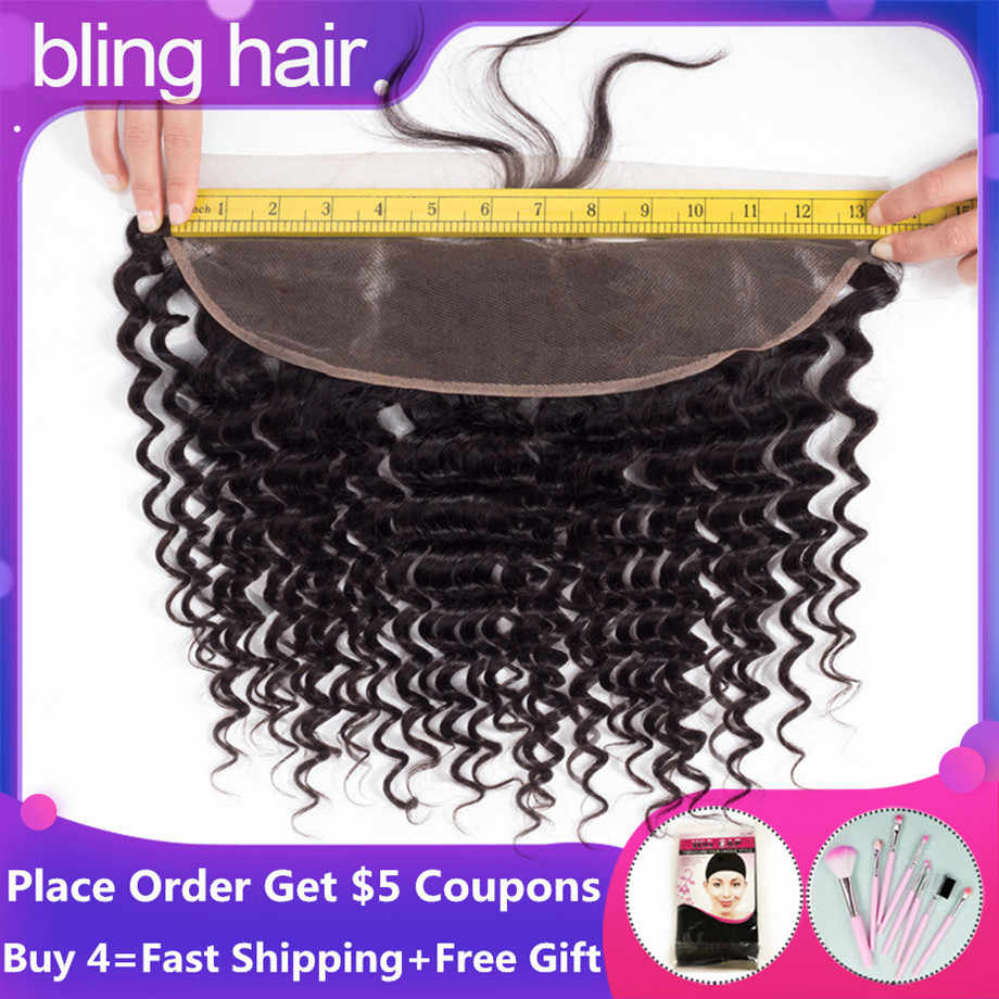 "bling hair Deep Wave Frontal 100% Remy Brazilian Human Hair Lace Frontal Closure 13*4 With Baby Hair Natural Black Color 8""-22"""
