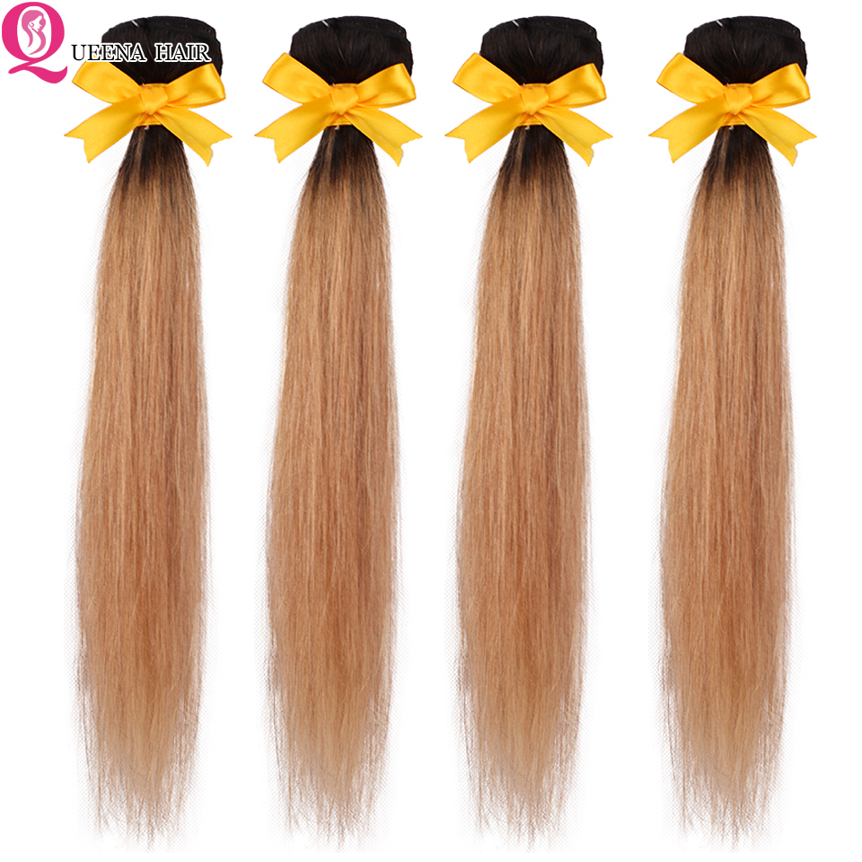 Ombre Straight Hair Brazilian Hair Weave Bundles 1B/27 Two Tone Color  Pure Human Hair Cheap Ombre 1B/27 Hair 3 Or 4 Bundles