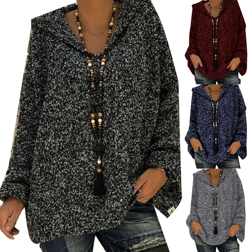 Fashion Women Casual Floral Print Loose Long Sleeve Hooded Sweater  Hooded Polyester + Spandex WarmAnd SoftWomen's Hooded