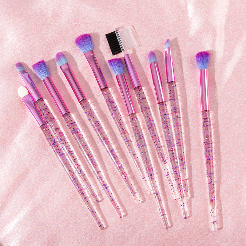 Glitter 10pcs Lovely Pink Unicorn Eye Brushes Set Eyeliner Eyebrow Eyeshadow Makeup Brushes Set Cosmetic Beauty Maquiagem Tools