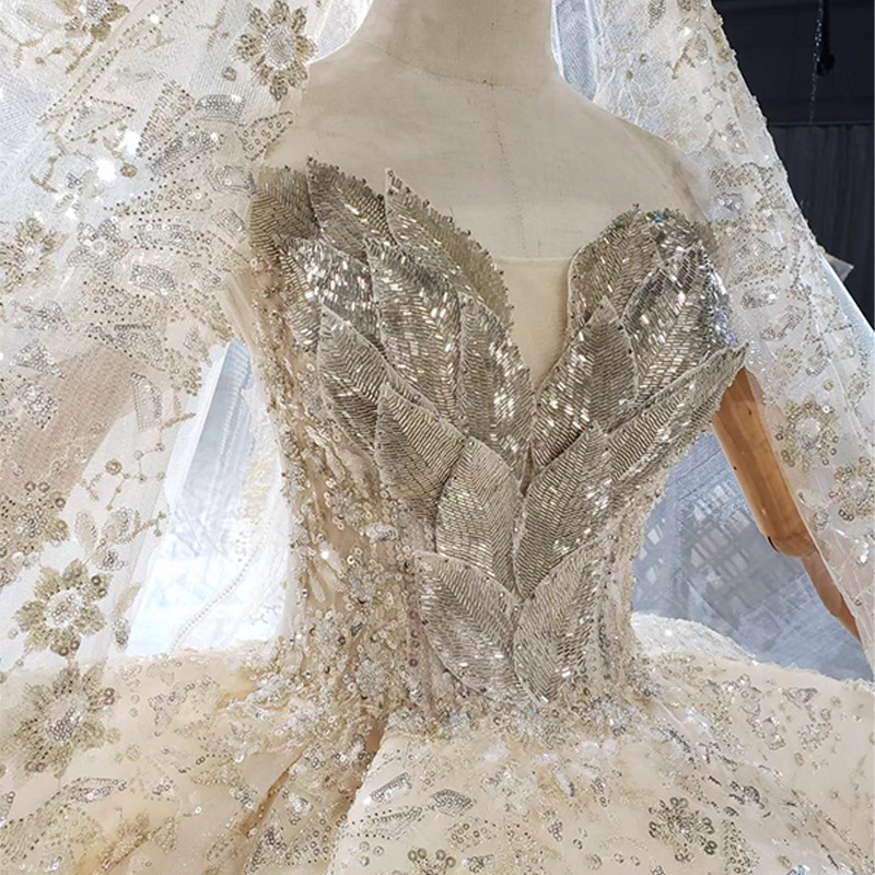 HTL1825 Luxurious Sequined Beading Crystal Lace Up Back Wedding Dress 2020 V-Neck Off The Shoulder Short Sleeve Ball Gowns 6