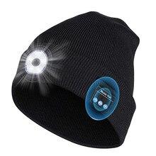 Sans fil musique BT chapeau LED sans fil appel tricoté chapeau nuit en cours d'exécution éclairage extérieur lampe de secours chaud multifonctionnel tricot chapeau