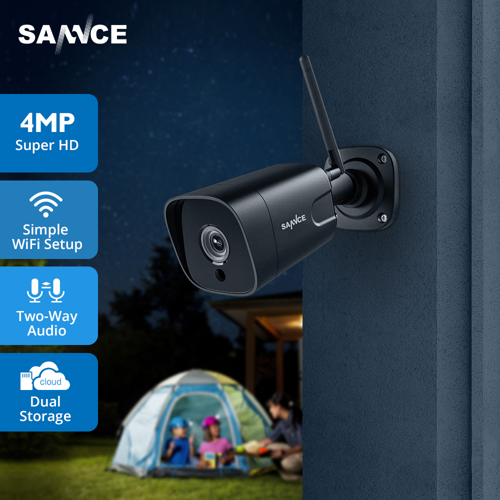 SANNCE Bullet IP Camera 4MP Home Security Camera Two Way Audio Wireless WiFi Mini Camera Night Vision CCTV Dual Storage Camera|Surveillance Cameras| |  - title=