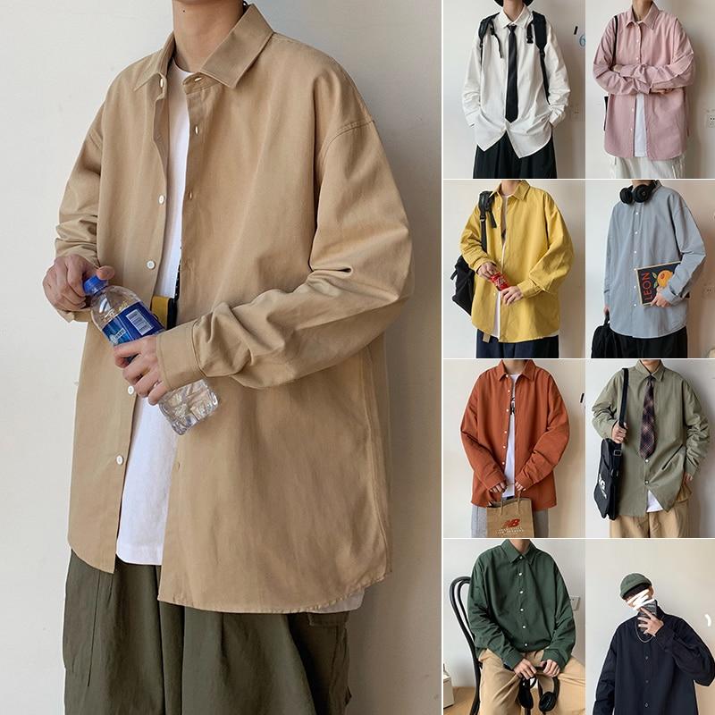 2020 Plus Size Shirts Fashion Loose Fit Long Sleeve Shirts Mens Cotton Dress Shirt Casual Dress Shirt for Men Street Clothing