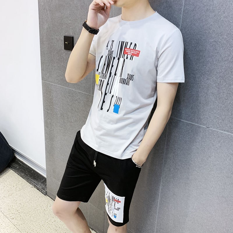 Summer New Mens Fashion Casual Printing Sports Two Piece Outfits Short Sleeve O-Neck T-Shirts Elastic Waist Knee Length Shorts