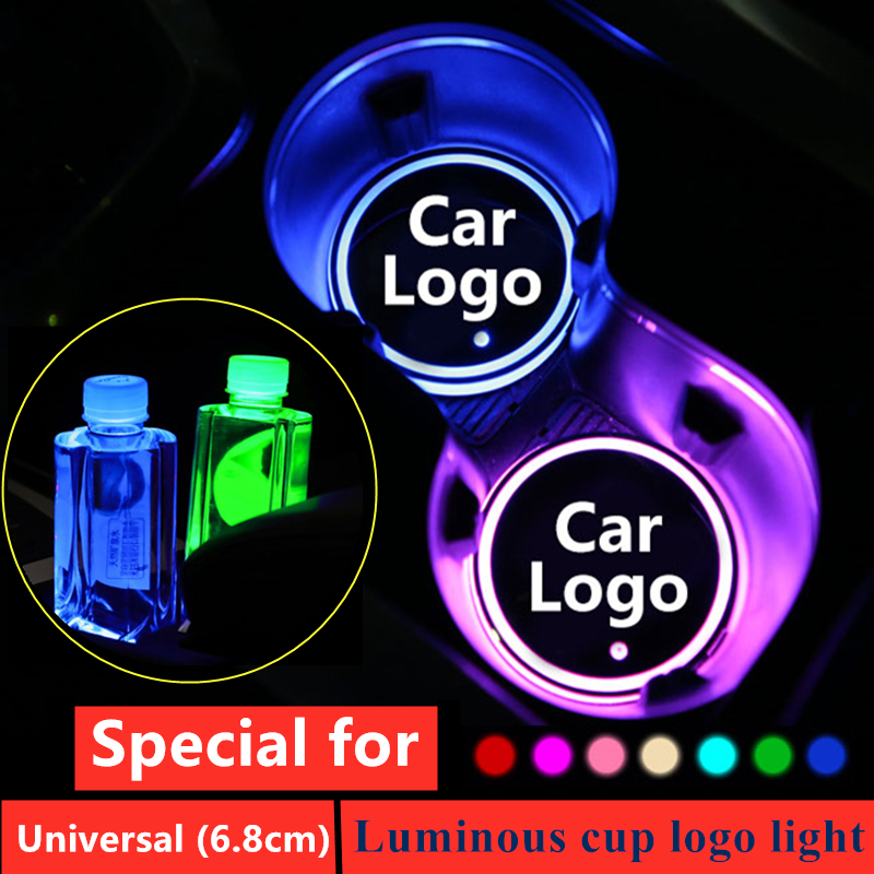 1X Led Car Logo Cup Lights For BMW Audi Mercedes Benz Ford Toyota Dodge Honda Mini Smart Abarth Luminous Coaster Accessories