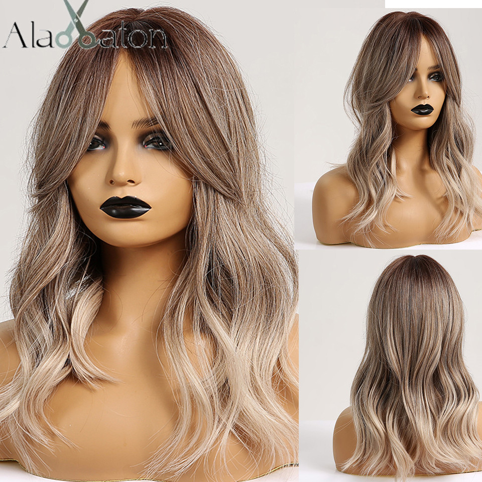 ALAN EATON Synthetic Hair Wig Ombre Brown Light Ash Blonde Medium Wave Wig For Black Women Heat Resistant Fiber Daily False Hair