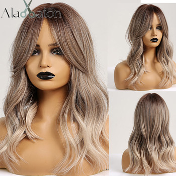 ALAN EATON Synthetic Hair Wig Ombre Brown Light Ash Blonde Medium Wave for Black Women Heat Resistant Fiber Daily False - discount item  36% OFF Synthetic Hair