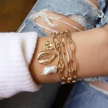 Fashion chain shell ladies bracelet gold round pendant charm simple white multi-layer jewelry accessories