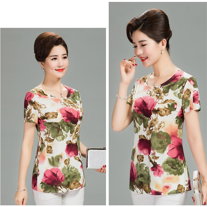 H6f19d2d6978c4e53b99f57c4dcdee40aF - Women Summer T-shirt Printed Milk Silk Short Women's T shirt Middle-aged Mother Clothes Plus size L-4XL Female Tops