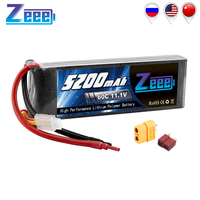 Zeee 11.1V RC Lipo Battery 5200mAh 3S Rechargeable RC Battery FPV 60C with Deans Plug XT60 for RC Car Truck Helicopter Quad Boat