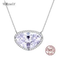 Luxury Choker Real Sterling Silver Pendant Big Triangle Zircon Stone Jewelry Suspension Pretty Women 925 silver Necklace