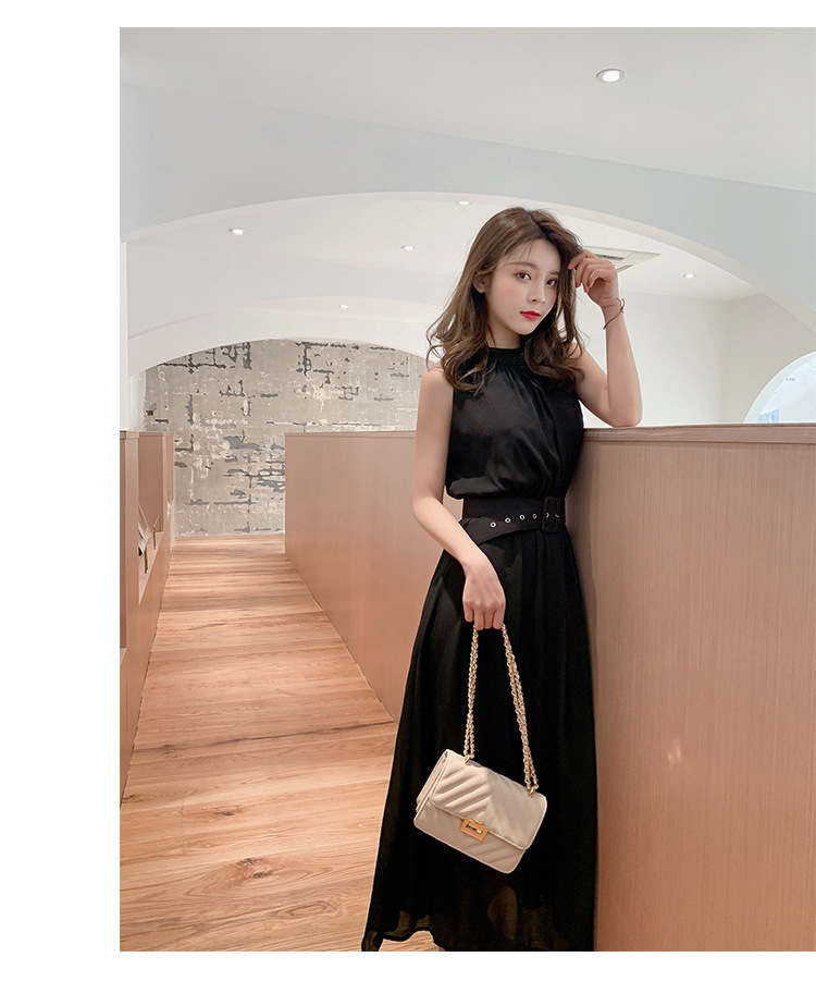 Vestidos Mujer Polyester None Hot Sale Vestido Longo Dress Free Shipping Summer 2020 Dress New Korean Slim Thin Long Sleeveless