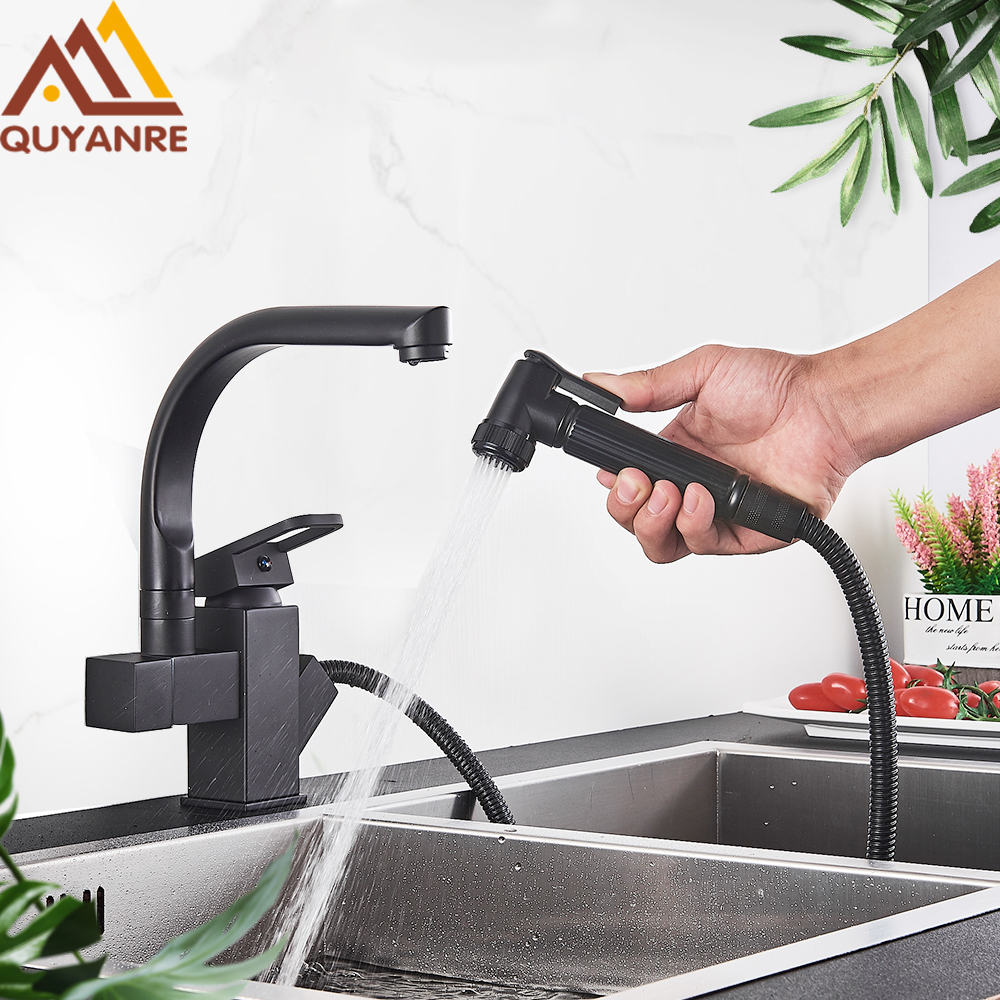 Chrome US RU Shipping Blackend Chrome Pull Out Spray Kitchen Sink Faucet 360 Rotation Spout Single Handle Mixer Tap Sink Faucet