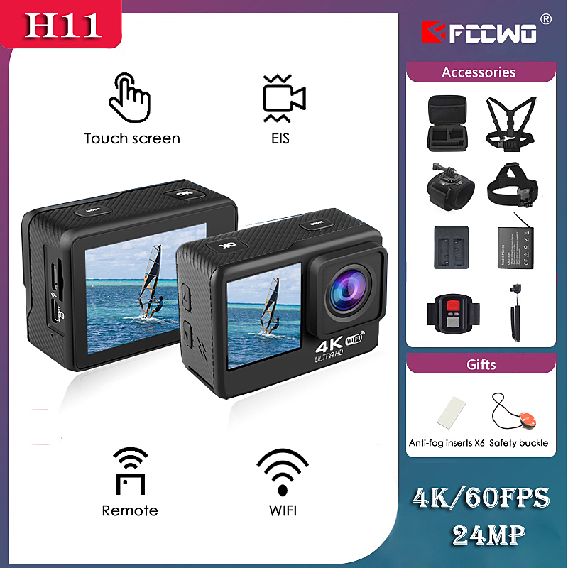 H11 Action Camera 4K 60FPS 24MP 2.0 Touch LCD EIS Dual Screen WiFi Webcam Waterproof Helmet Sports Video Cam Go Sport pro Came