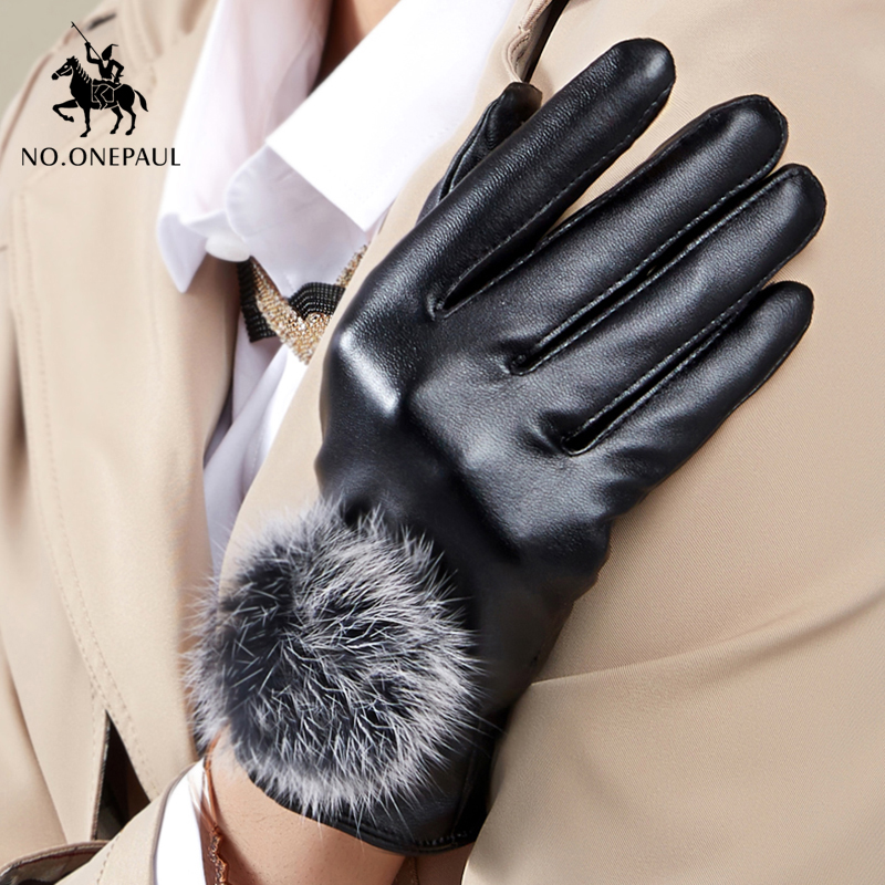 NO.ONEPAUL Genuine Leather Women Gloves Windstopers Gloves Warm Touchscreen Full Finger Tactico Winter Driving Gloves For Women