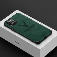 Per Apple iphone 11 Pro Max custodia morbida in Silicone + pelle PU cervo custodia antiurto per iphone XS Max XR 6 6S 7 8 Plus SE
