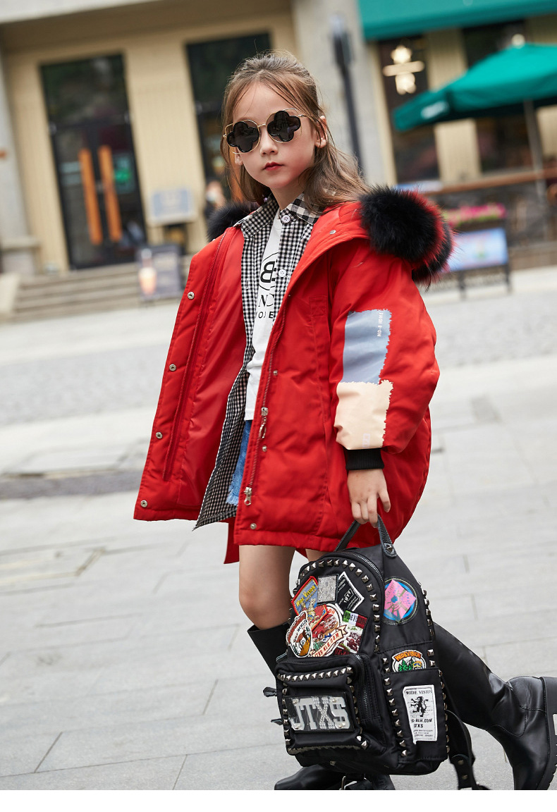 Kids Winter Coat with Big Fur Collar Cool Girl Children Duck Down Jacket -30 Russia Teenager Parka Hooded  Kids Winter Clothing