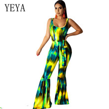 YEYA Summer Sexy Backless Printed Tie-dyed Jumpsuits with Belt Elegant Sleeveless Hollow Out Women Long Overalls Retro Playsuits