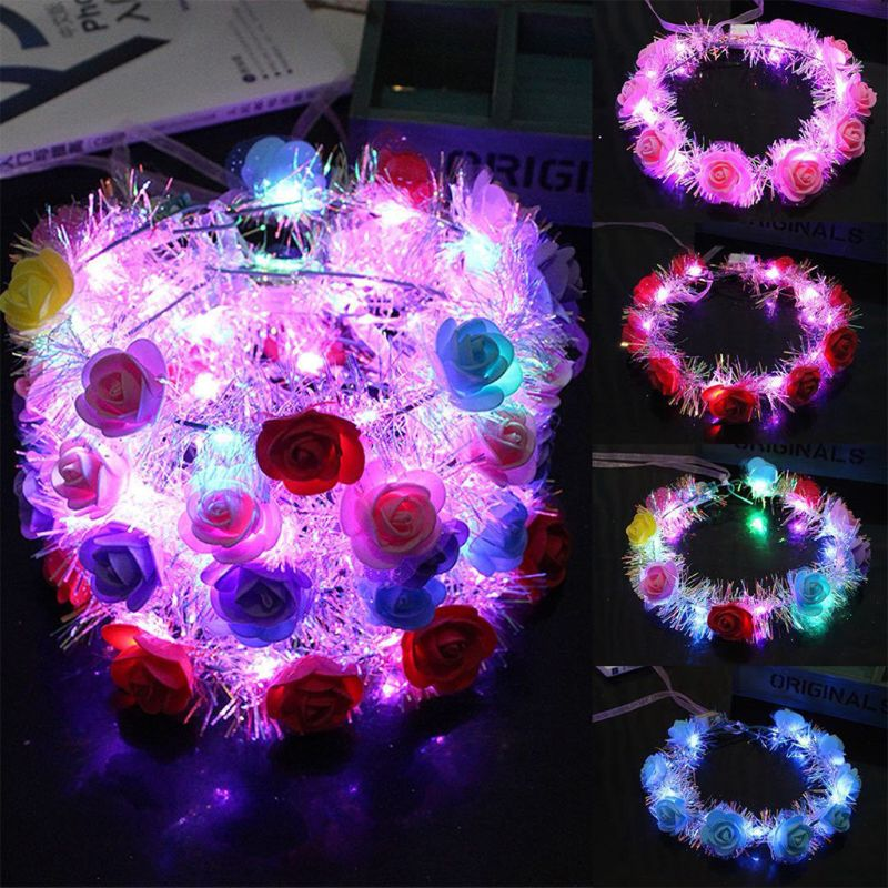 Women Children LED Light Up Flower Crown Glitter Reflective Tinsel Wreath Headband Luminous   Headwear   for Christmas Holiday Party