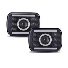 цена на LED  Headlight Projector 7x6 5x7 inch  Sealed Beam Replacement Hi/Lo Beam DRL Fits Headlamp Bulb for Jeep Wrangler