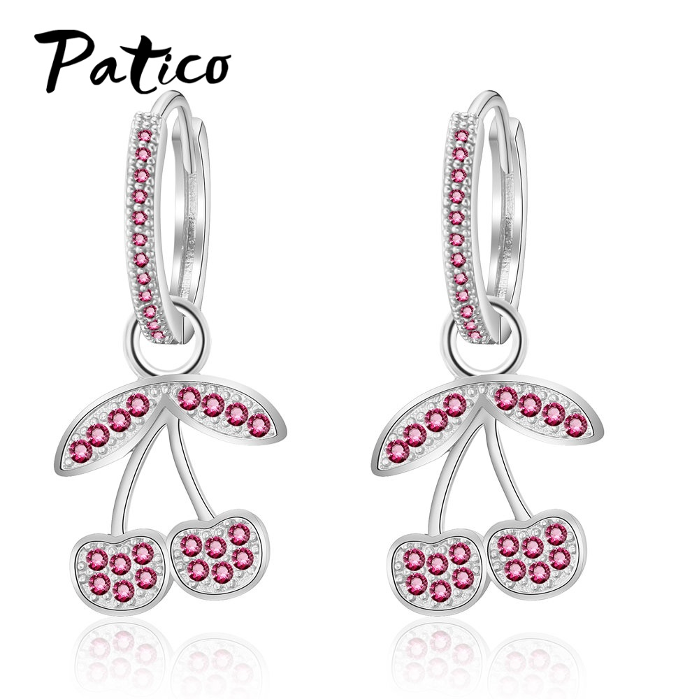 Fruit Cherry Earrings Eardrop Sweet 925 Sterling Silver Beautiful Girl Earings For Women Cubic Zircon Ear Rings Party Jew