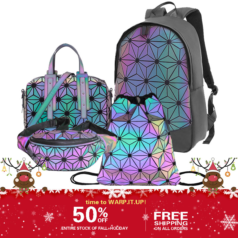 Geometric Fluoresence Tenis Feminino  Casual Backpack Set Luminous Woman Fashion Bags And Purse Holographic Fanny Pack
