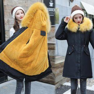 Image 2 - Veste dhiver longue à capuche pour femme, vêtement dhiver épais, doublure en fourrure, peut être 30 degrés