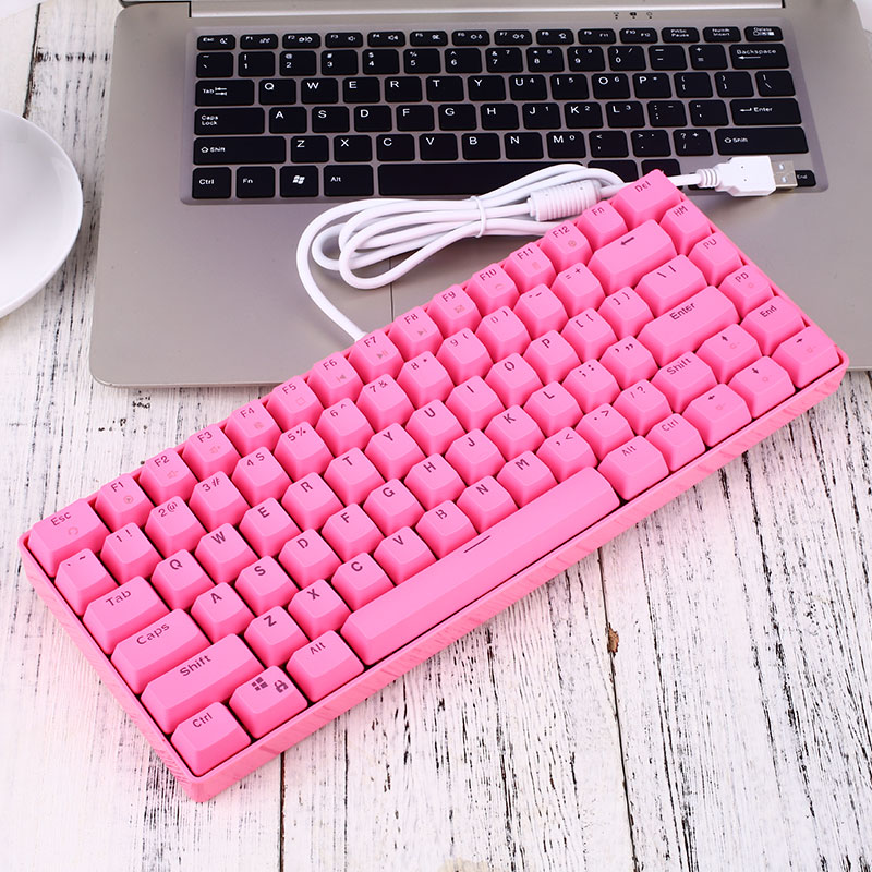 <font><b>82</b></font> keys Durable Mechanical <font><b>Keyboard</b></font> 9 Backlights Modes with Pink Color & Cute Design Kawaii Gift for Girlfriend Light& Portable image