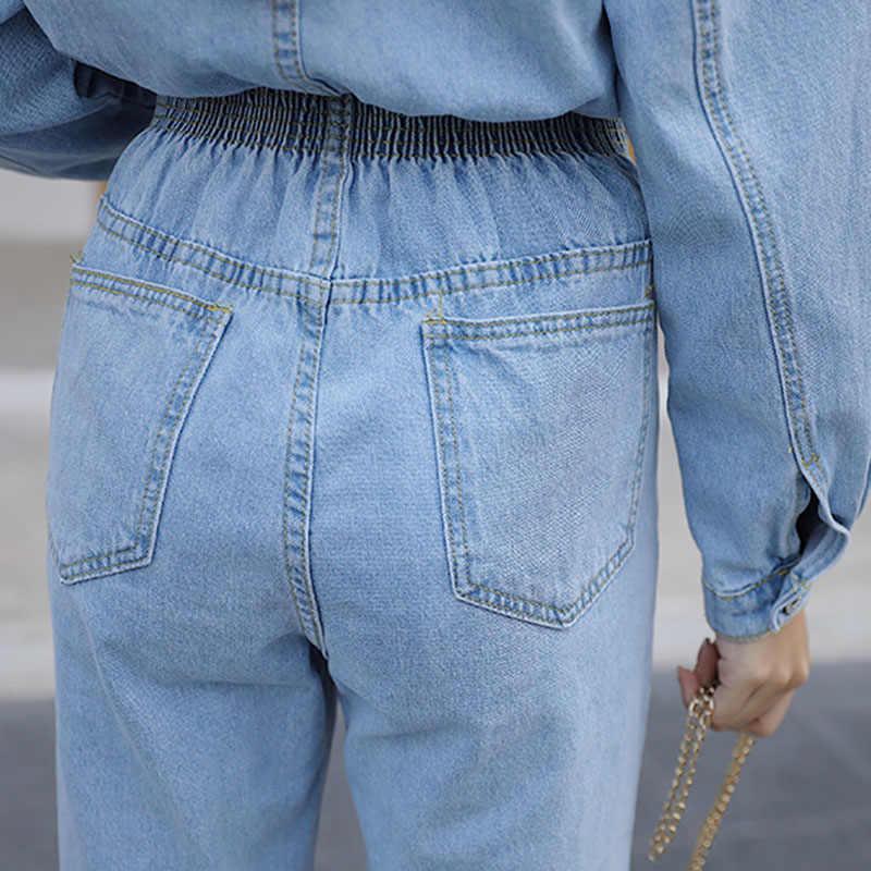 Frühling 2020 Frauen Langarm Jeans Denim Overall Streetwear Elastische Taille Jeans Strampler Blau Oder Sky Blau Outfit Overalls