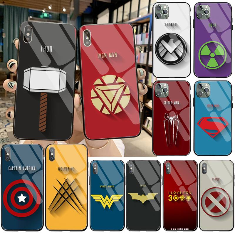 Marvel superhero weapon logo Black Shell Phone Case Capa Tempered Glass For iPhone 11 Pro XR XS MAX 8 X 7 6S 6 Plus SE 2020 case image