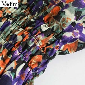 Image 4 - Vadim elegante para mujer floral patrón mini vestido O cuello linterna manga elástica cintura femenina casual retro vestidos QD162