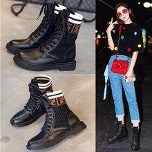 Г., новые модные повседневные женские ботинки удобные вязаные дышащие женские ботинки на шнуровке женская обувь на толстой подошве