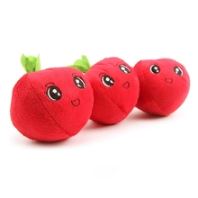Apple Shape Dog Toys Pet Cotton Chew Toy Funny Pup Squeaky Plush Play Sound Interactive Cleaning Products